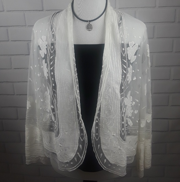 bc5eb81840440 Sheryl Crow NWT Ivory Sheer Embroidered Jacket